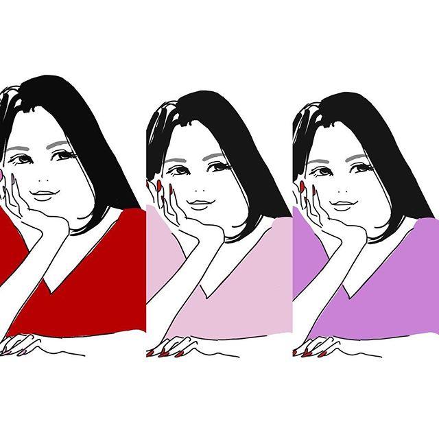 3色の自分。マニキュアの色を変えるように、場面場面で楽しんでください♬・#オーダー #オーダーメイド #似顔絵 #色 #イラスト #イラストレーション #イラストレーター #ヘレン #blanc